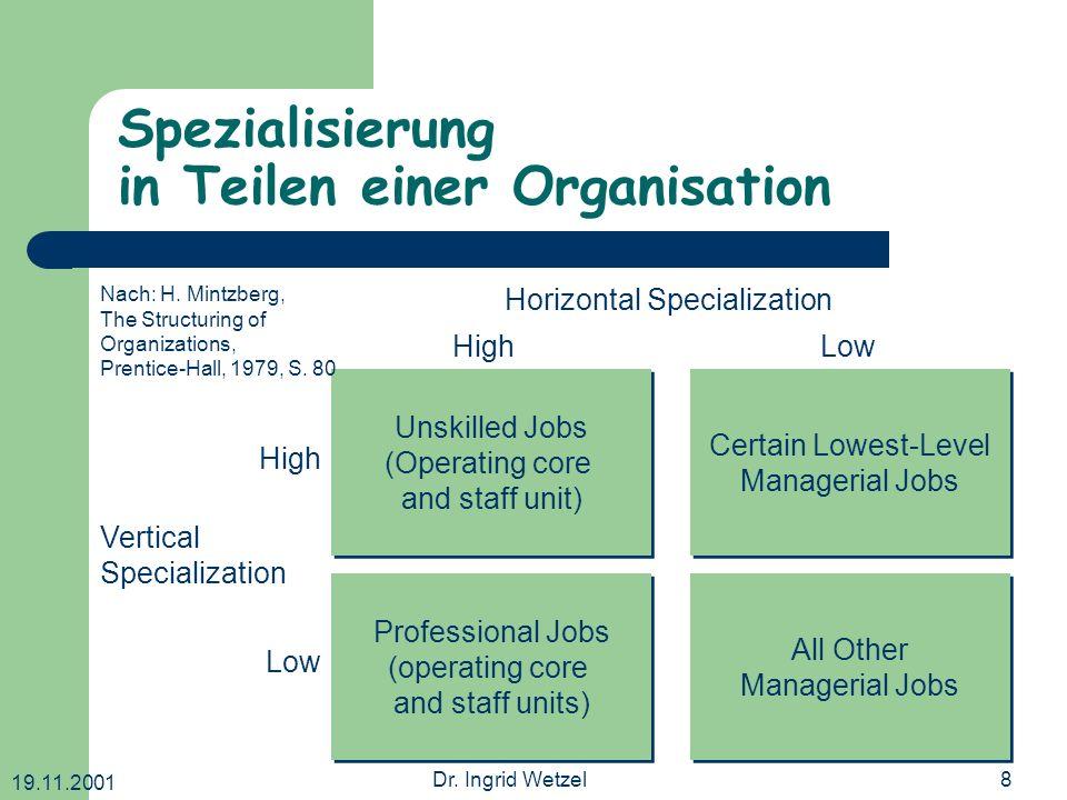 19.11.2001 Dr. Ingrid Wetzel8 Spezialisierung in Teilen einer Organisation Unskilled Jobs (Operating core and staff unit) Unskilled Jobs (Operating co