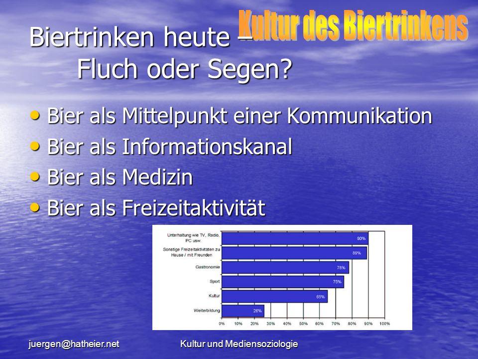 juergen@hatheier.netKultur und Mediensoziologie Biertrinken heute – Fluch oder Segen.