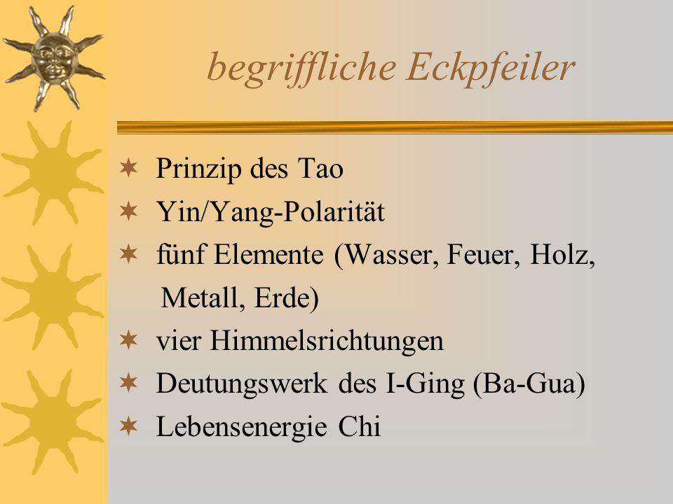 begriffliche Eckpfeiler Prinzip des Tao Yin/Yang-Polarität fünf Elemente (Wasser, Feuer, Holz, Metall, Erde) vier Himmelsrichtungen Deutungswerk des I