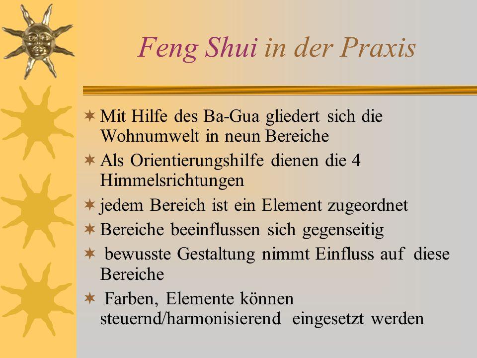 Feng Shui in der Praxis Mit Hilfe des Ba-Gua gliedert sich die Wohnumwelt in neun Bereiche Als Orientierungshilfe dienen die 4 Himmelsrichtungen jedem