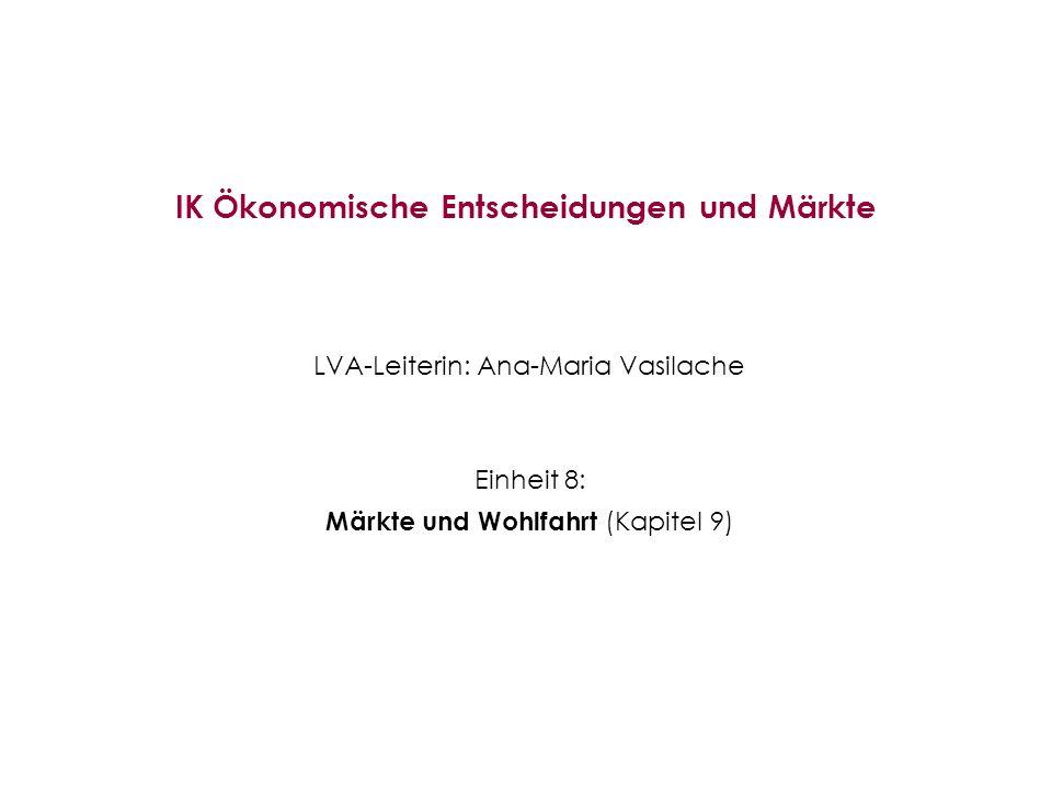 IK Ökonomische Entscheidungen und Märkte LVA-Leiterin: Ana-Maria Vasilache Einheit 8: Märkte und Wohlfahrt (Kapitel 9)