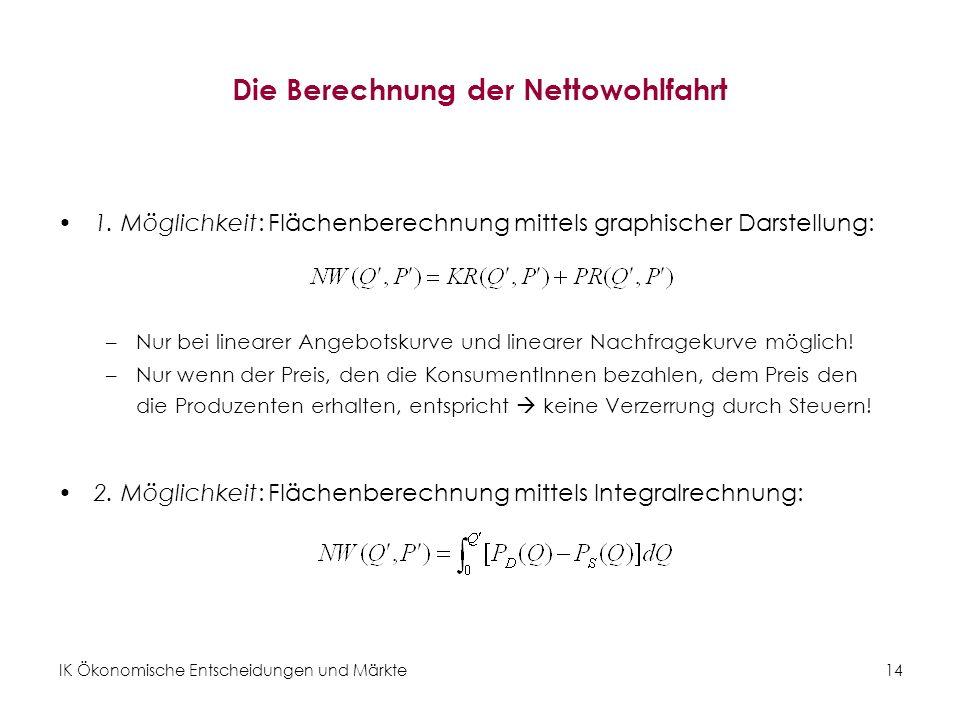 IK Ökonomische Entscheidungen und Märkte 14 Die Berechnung der Nettowohlfahrt 1.