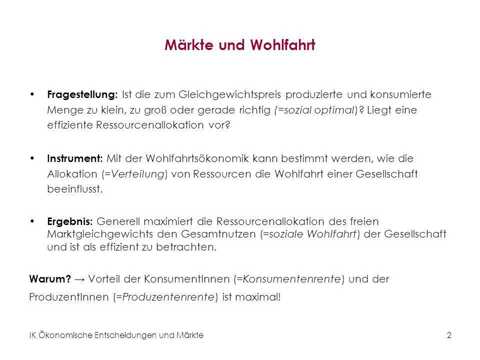 IK Ökonomische Entscheidungen und Märkte 23 Erläuterung … Veränderung der KR : Teil der KonsumentInnen ist besser gestellt, da P max < P* (+A).