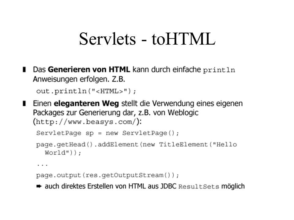 Servlets - toHTML