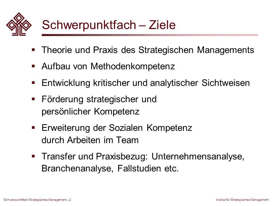 Institut für Strategisches Management Schwerpunktfach Strategisches Management – 2 Schwerpunktfach – Ziele Theorie und Praxis des Strategischen Manage