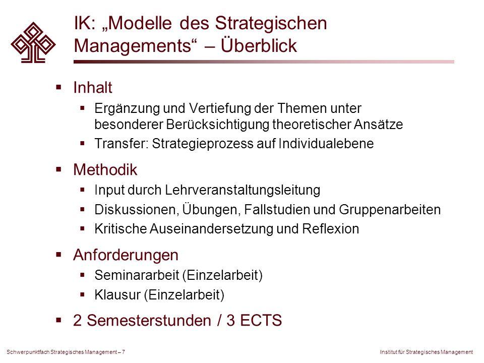 Institut für Strategisches Management Schwerpunktfach Strategisches Management – 7 IK: Modelle des Strategischen Managements – Überblick Inhalt Ergänz