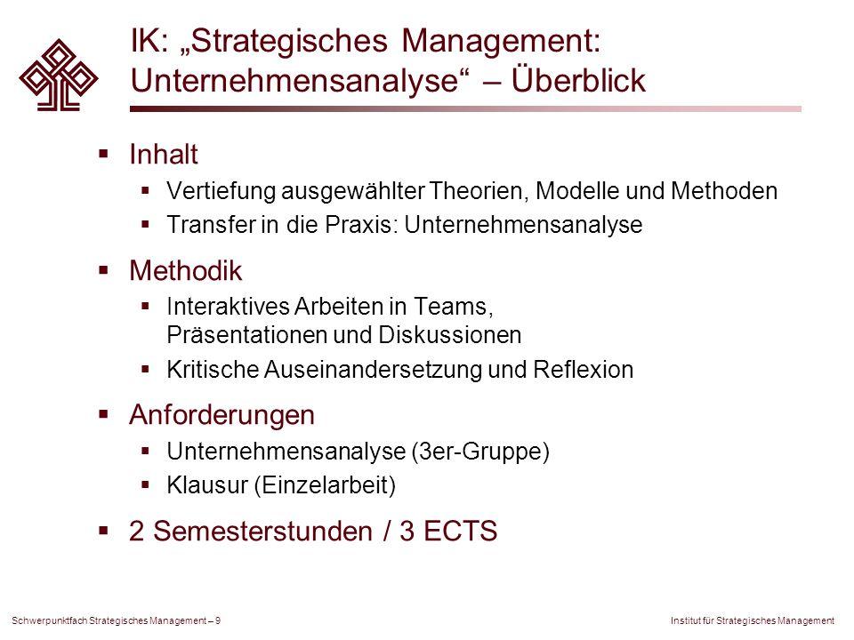 Institut für Strategisches Management Schwerpunktfach Strategisches Management – 9 IK: Strategisches Management: Unternehmensanalyse – Überblick Inhal
