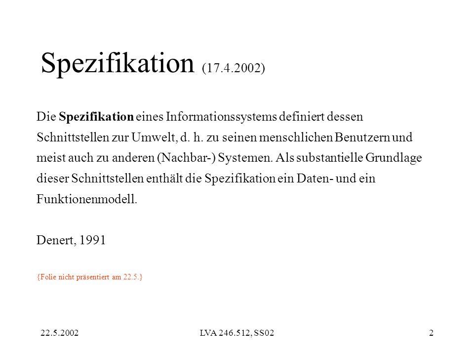 22.5.2002LVA 246.512, SS022 Die Spezifikation eines Informationssystems definiert dessen Schnittstellen zur Umwelt, d. h. zu seinen menschlichen Benut