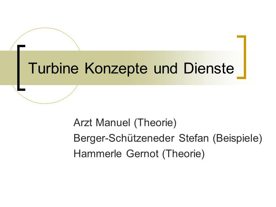 Turbine Konzepte und Dienste Arzt Manuel (Theorie) Berger-Schützeneder Stefan (Beispiele) Hammerle Gernot (Theorie)