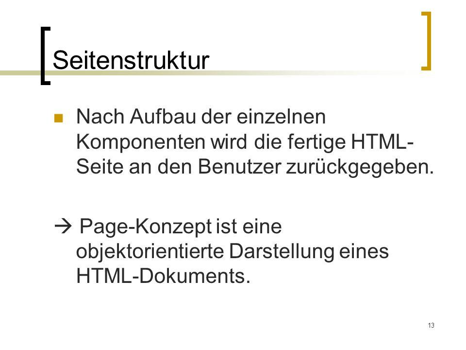 13 Seitenstruktur Nach Aufbau der einzelnen Komponenten wird die fertige HTML- Seite an den Benutzer zurückgegeben.