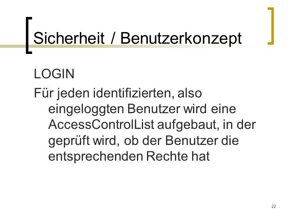 22 Sicherheit / Benutzerkonzept LOGIN Für jeden identifizierten, also eingeloggten Benutzer wird eine AccessControlList aufgebaut, in der geprüft wird, ob der Benutzer die entsprechenden Rechte hat