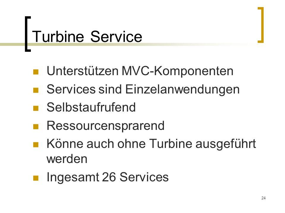 24 Turbine Service Unterstützen MVC-Komponenten Services sind Einzelanwendungen Selbstaufrufend Ressourcensprarend Könne auch ohne Turbine ausgeführt werden Ingesamt 26 Services