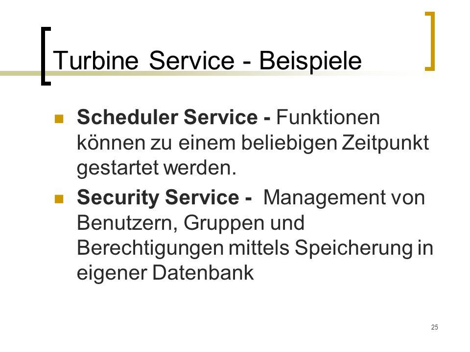 25 Turbine Service - Beispiele Scheduler Service - Funktionen können zu einem beliebigen Zeitpunkt gestartet werden.