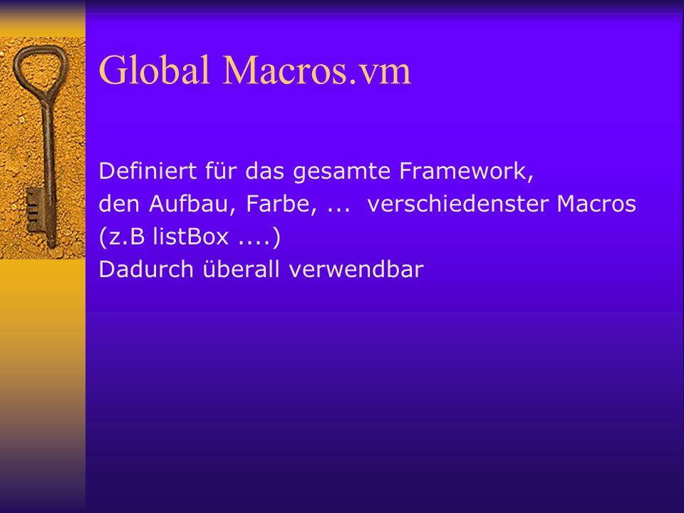Global Macros.vm Definiert für das gesamte Framework, den Aufbau, Farbe,...