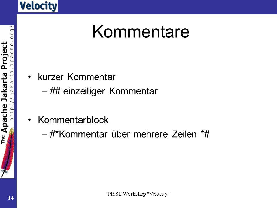 PR SE Workshop