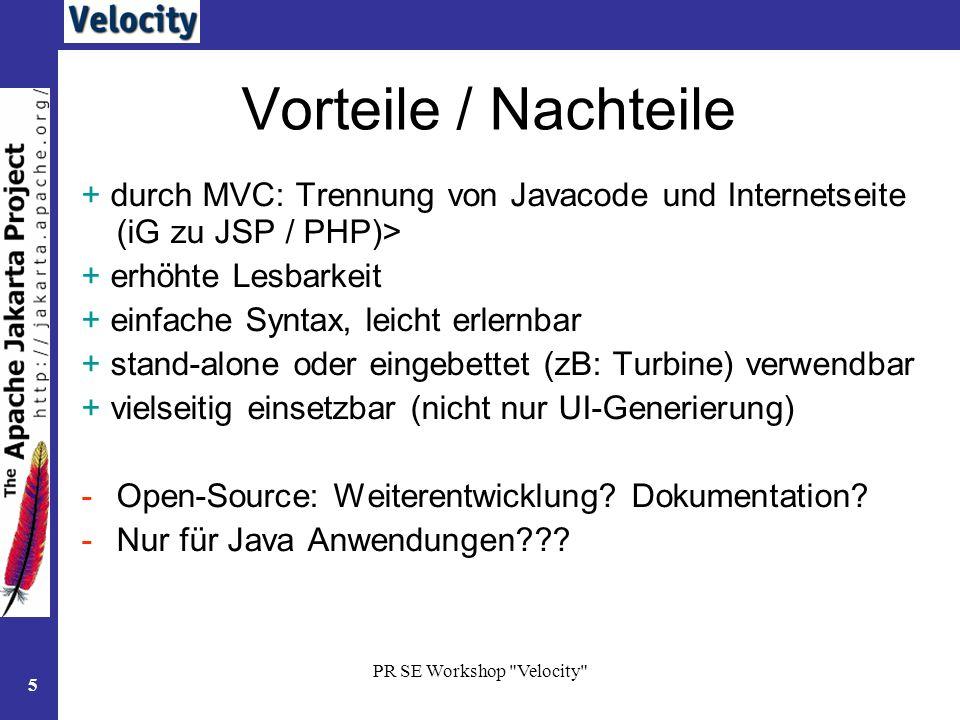 PR SE Workshop Velocity 16 Aufruf im Template Methode $lva.getLeiter() aufrufen vom Template aus mit $lva.Leiter.