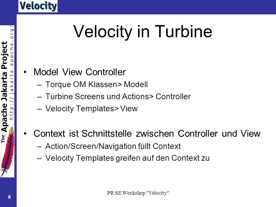 PR SE Workshop Velocity 19 Makros: Velocimacros Auslagerung von Scriptelementen Zeitersparnis –einmalig definiert –Wiederholungen erspart Sktruktur –#makro (testmakro) #end Aufruf im Template –#testmakro ()
