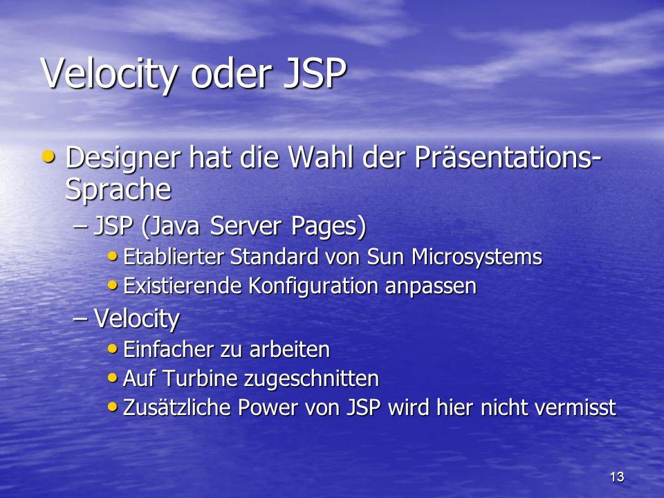 13 Velocity oder JSP Designer hat die Wahl der Präsentations- Sprache Designer hat die Wahl der Präsentations- Sprache –JSP (Java Server Pages) Etabli