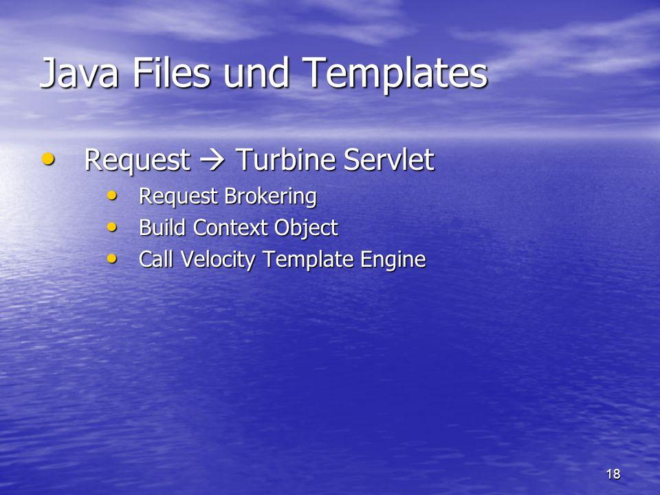 18 Java Files und Templates Request Turbine Servlet Request Turbine Servlet Request Brokering Request Brokering Build Context Object Build Context Obj