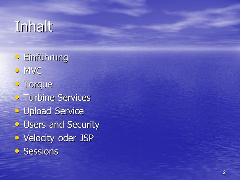 13 Velocity oder JSP Designer hat die Wahl der Präsentations- Sprache Designer hat die Wahl der Präsentations- Sprache –JSP (Java Server Pages) Etablierter Standard von Sun Microsystems Etablierter Standard von Sun Microsystems Existierende Konfiguration anpassen Existierende Konfiguration anpassen –Velocity Einfacher zu arbeiten Einfacher zu arbeiten Auf Turbine zugeschnitten Auf Turbine zugeschnitten Zusätzliche Power von JSP wird hier nicht vermisst Zusätzliche Power von JSP wird hier nicht vermisst