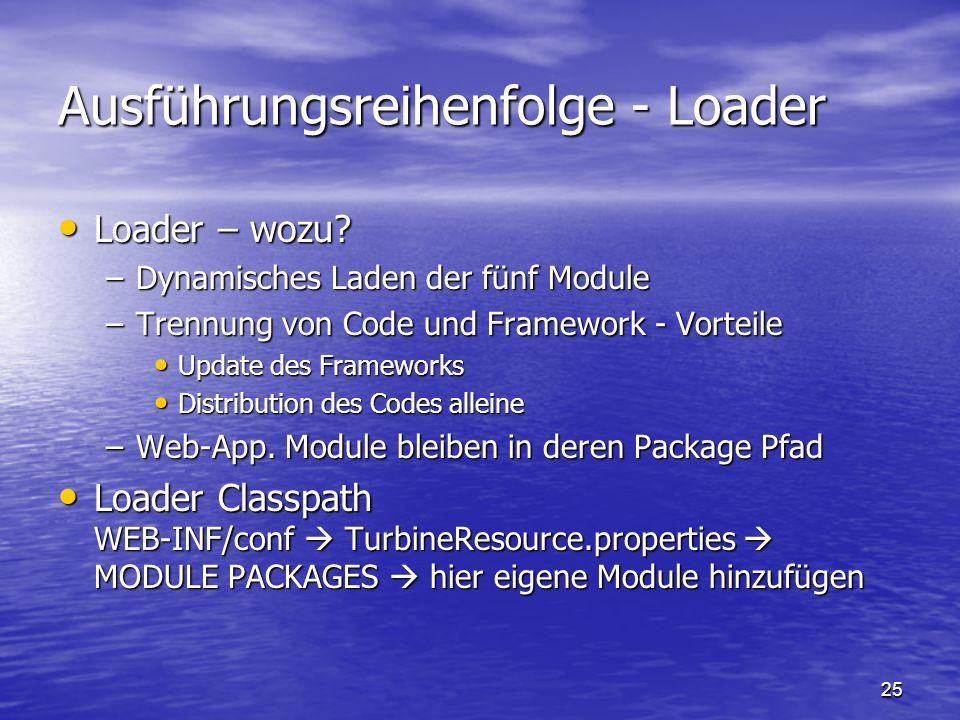 25 Ausführungsreihenfolge - Loader Loader – wozu? Loader – wozu? –Dynamisches Laden der fünf Module –Trennung von Code und Framework - Vorteile Update