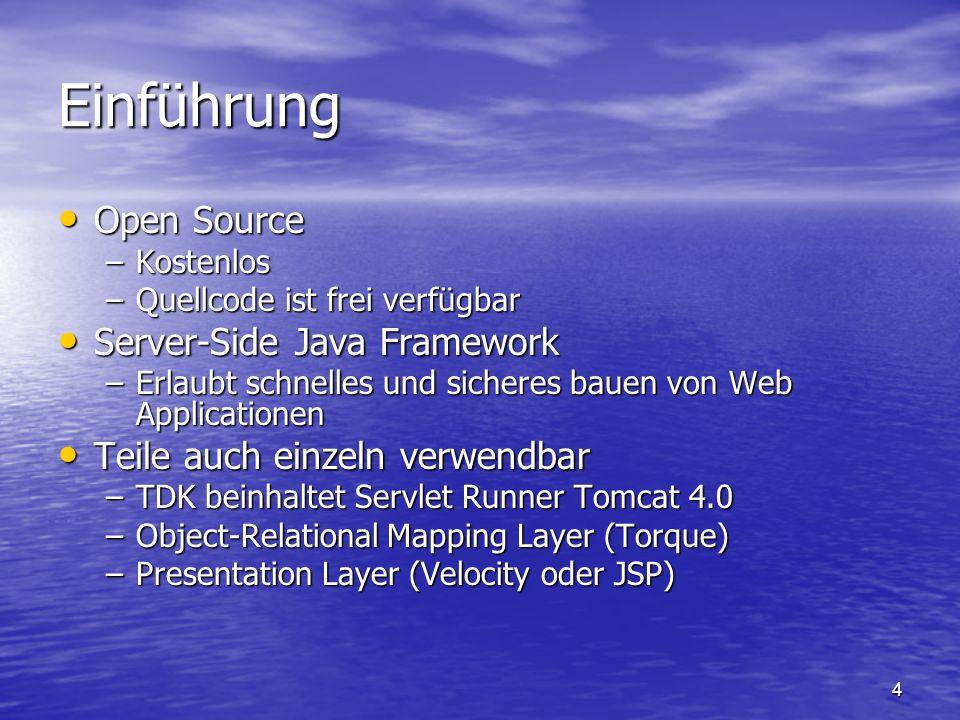 4 Einführung Open Source Open Source –Kostenlos –Quellcode ist frei verfügbar Server-Side Java Framework Server-Side Java Framework –Erlaubt schnelles