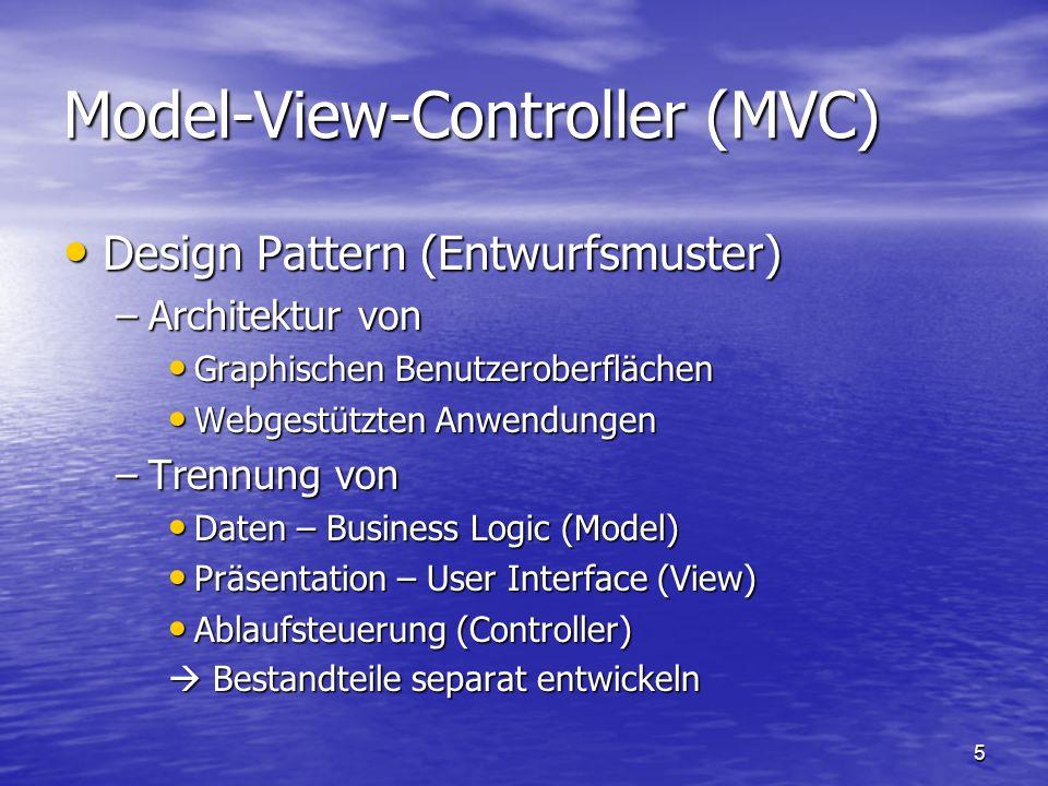 6 –Für die View empfiehlt Sun den Einsatz von Java Server Pages (JSPs) Daten werden aus Model geholt (an Stelle von speziellen Tags), und in die HTML-Seite eingefügt (Pull-MVC) Daten werden aus Model geholt (an Stelle von speziellen Tags), und in die HTML-Seite eingefügt (Pull-MVC) Push-Strategie: Model kümmert sich um die Aktualität der View Push-Strategie: Model kümmert sich um die Aktualität der View –Controller Wird meist durch Servlet repräsentiert (reagiert auf Nutzerinteraktion mit der View und ruft entsprechende Methoden des Models auf) Wird meist durch Servlet repräsentiert (reagiert auf Nutzerinteraktion mit der View und ruft entsprechende Methoden des Models auf) –VT: HTML Designer kann GUI ändern ohne den Java Code anzurühren