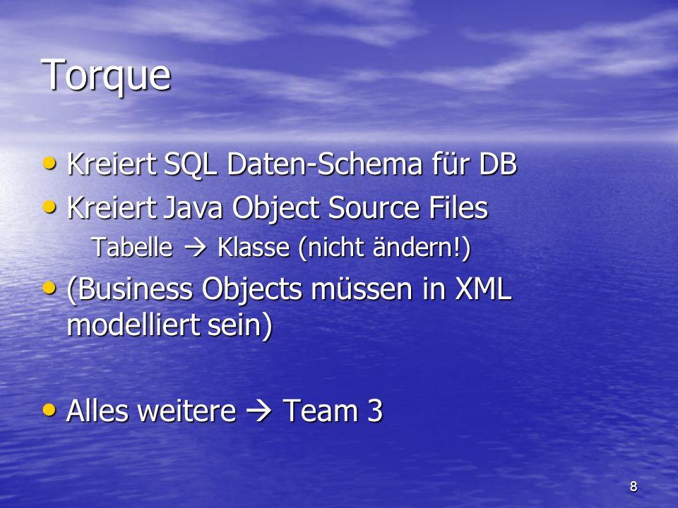 8 Torque Kreiert SQL Daten-Schema für DB Kreiert SQL Daten-Schema für DB Kreiert Java Object Source Files Kreiert Java Object Source Files Tabelle Kla