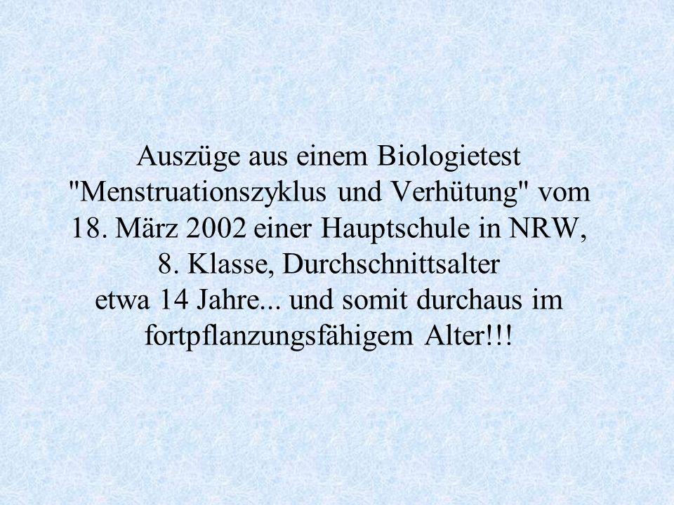 Auszüge aus einem Biologietest