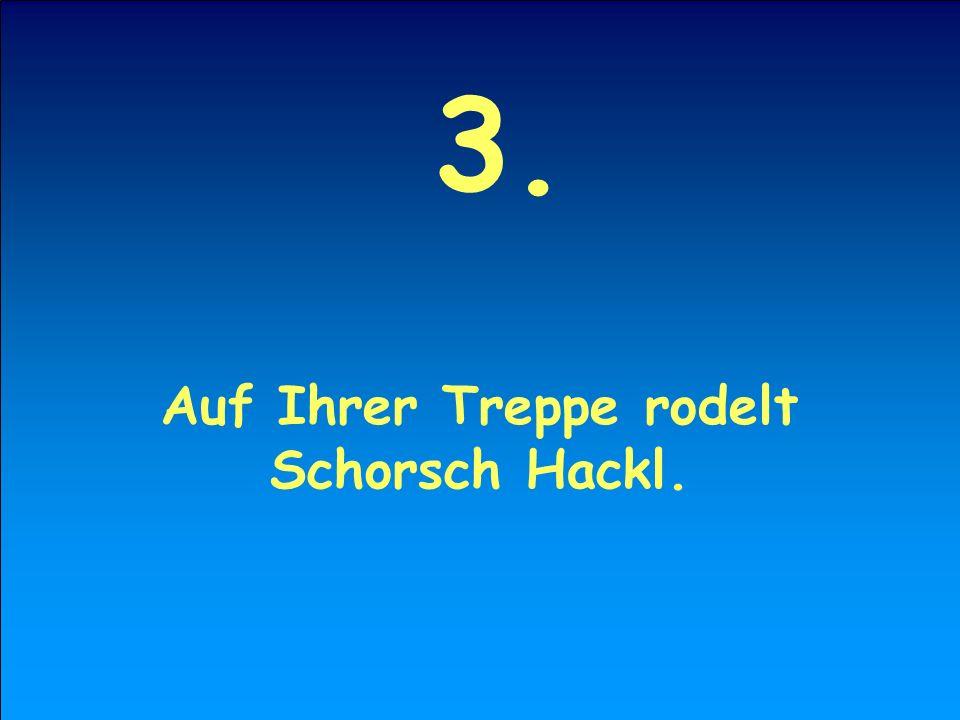 3. Auf Ihrer Treppe rodelt Schorsch Hackl.