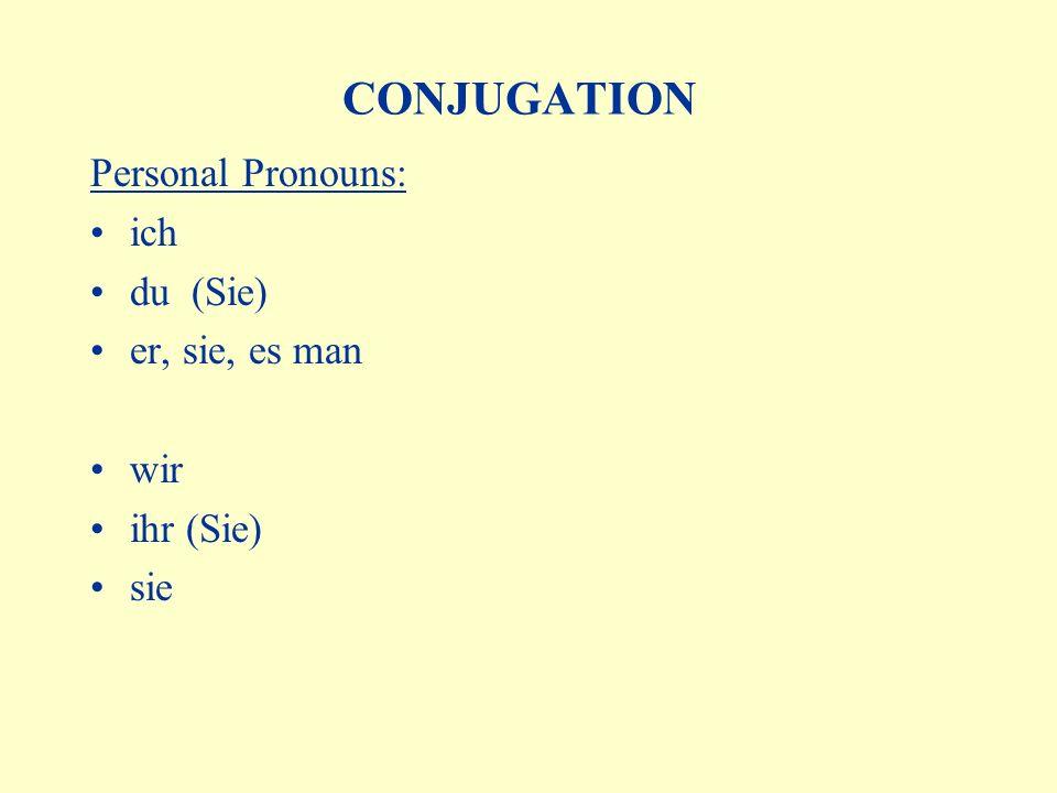 CONJUGATION Personal Pronouns: ich du (Sie) er, sie, es man wir ihr (Sie) sie