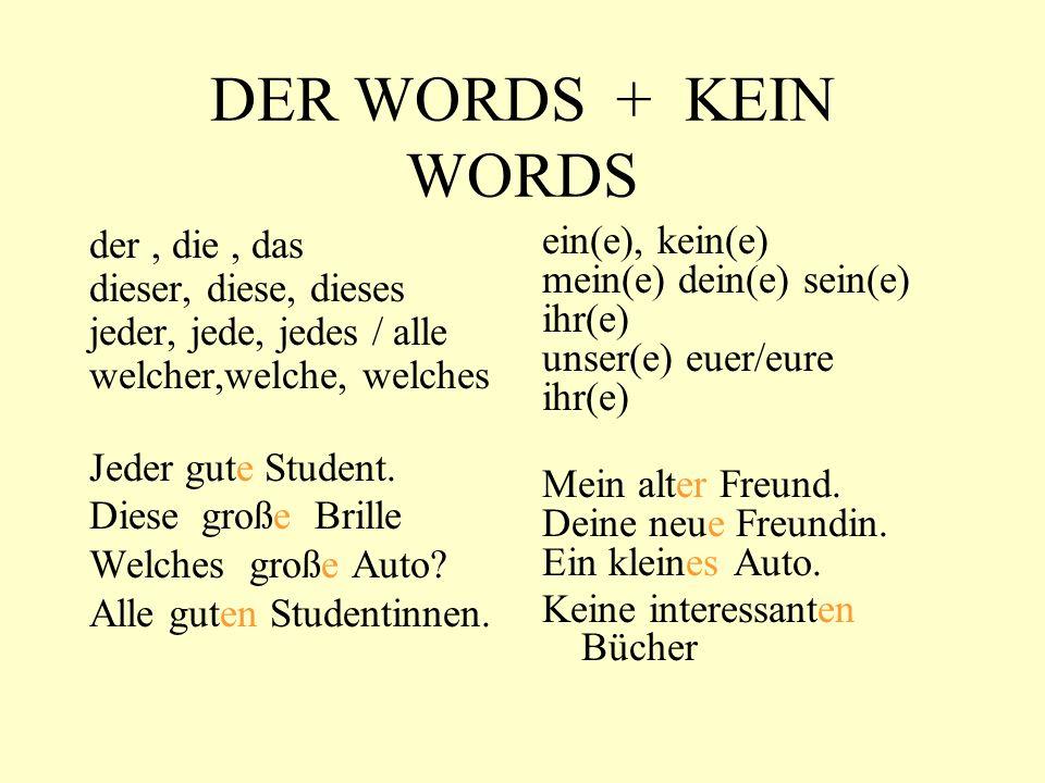 DER WORDS + KEIN WORDS der, die, das dieser, diese, dieses jeder, jede, jedes / alle welcher,welche, welches Jeder gute Student.