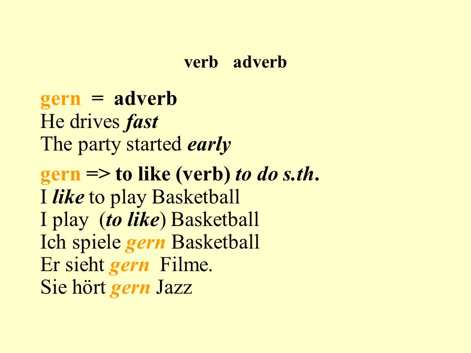 verb adverb gern = adverb He drives fast The party started early gern => to like (verb) to do s.th.
