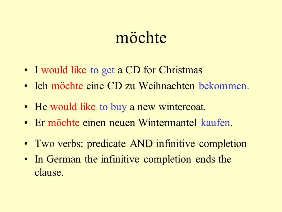 möchte I would like to get a CD for Christmas Ich möchte eine CD zu Weihnachten bekommen. He would like to buy a new wintercoat. Er möchte einen neuen