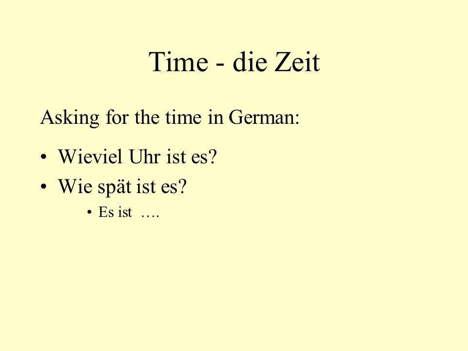 Time - die Zeit Asking for the time in German: Wieviel Uhr ist es? Wie spät ist es? Es ist ….