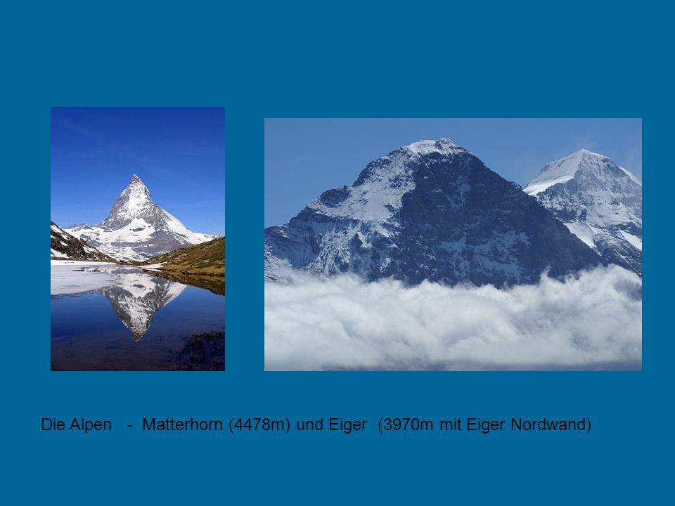Die Alpen - Matterhorn (4478m) und Eiger (3970m mit Eiger Nordwand)