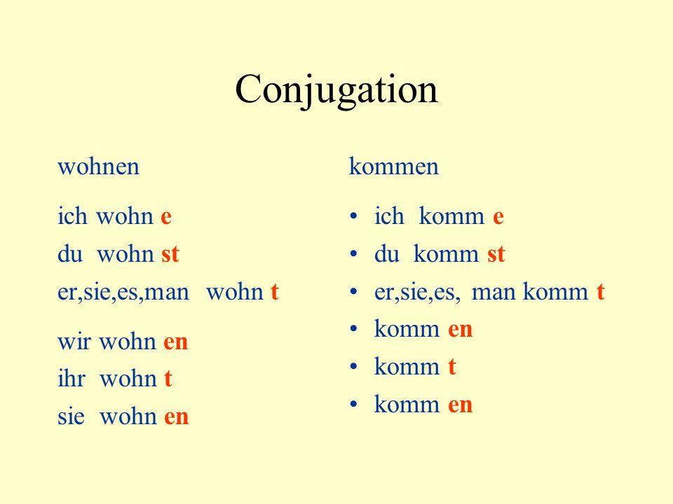 Conjugation wohnen ich wohn e du wohn st er,sie,es,man wohn t wir wohn en ihr wohn t sie wohn en kommen ich komm e du komm st er,sie,es, man komm t ko