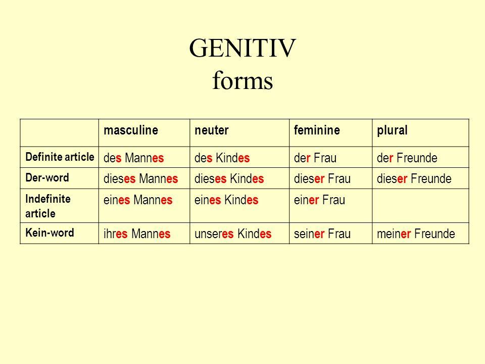 GENITIV forms masculineneuterfeminineplural Definite article de s Mann es de s Kind es de r Fraude r Freunde Der-word dies es Mann es dies es Kind es