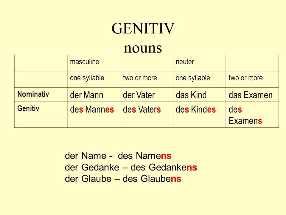 GENITIV nouns masculineneuter one syllabletwo or moreone syllabletwo or more Nominativ der Mannder Vaterdas Kinddas Examen Genitiv de s Mann es de s V