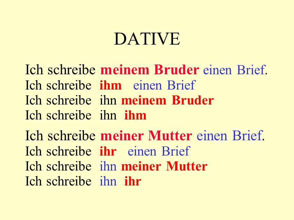 DATIVE has the following forms: definite articles: der => dem die => der das => dem pl.: die => den (+n) (Ich schreibe den Freunden) diesem / dieser / diesem welchem / welcher / welchem diesen / welchen indefinite articles: ein => einem eine => einer ein => einem keine => keinen (+n) meinem / meiner / meinem deinem / deiner / deinem seinem / seiner / seinem ihrem / ihrer / ihrem unserem / unserer /unserem eurem / eurer / eurem ihrem / ihrer / ihrem meinen / ihren