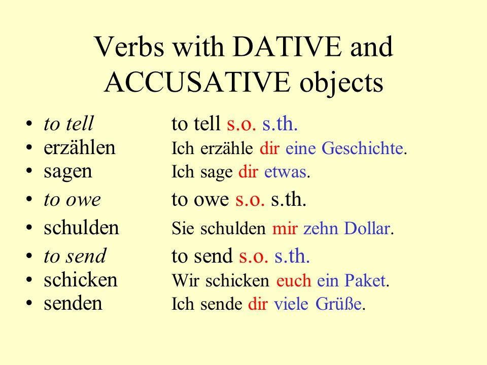 Verbs with DATIVE in addition German has a number of verbs that are always followed by a DATIVE.