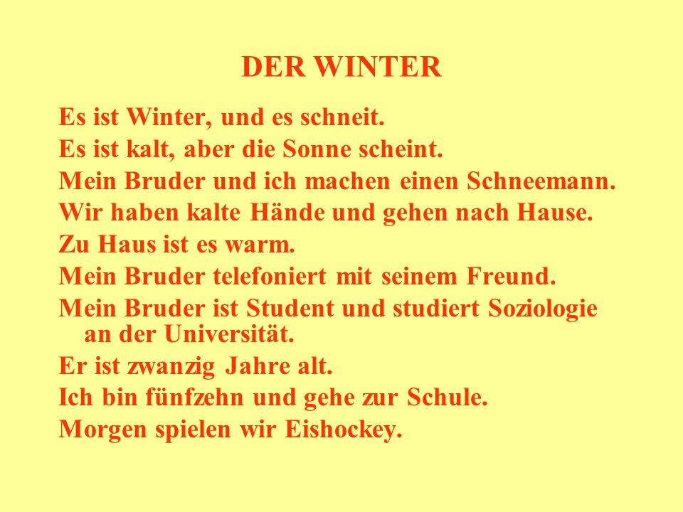 DER WINTER Es ist Winter, und es schneit. Es ist kalt, aber die Sonne scheint. Mein Bruder und ich machen einen Schneemann. Wir haben kalte Hände und