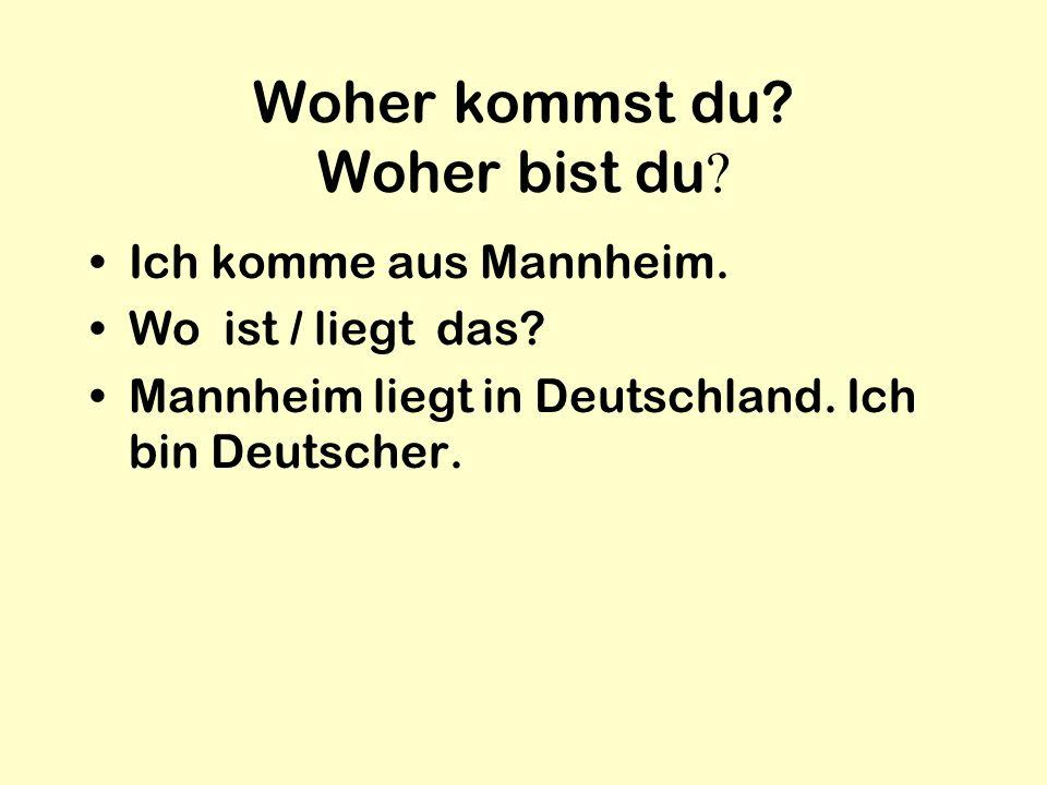 Woher kommst du? Woher bist du ? Ich komme aus Mannheim. Wo ist / liegt das? Mannheim liegt in Deutschland. Ich bin Deutscher.
