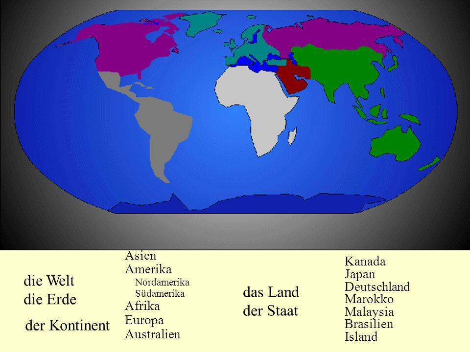 die Welt die Erde der Kontinent Asien Amerika Nordamerika Südamerika Afrika Europa Australien das Land der Staat Kanada Japan Deutschland Marokko Mala