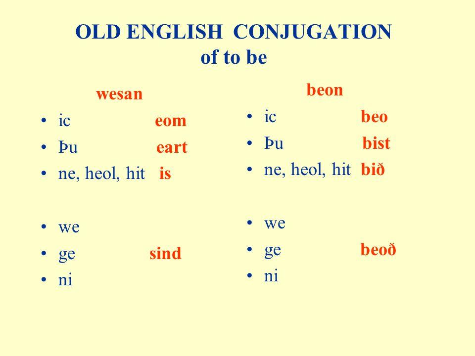 OLD ENGLISH CONJUGATION of to be wesan ic eom Þu eart ne, heol, hit is we ge sind ni beon ic beo Þu bist ne, heol, hit bið we ge beoð ni