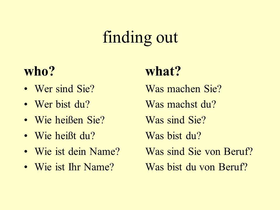 finding out who.Wer sind Sie. Wer bist du. Wie heißen Sie.
