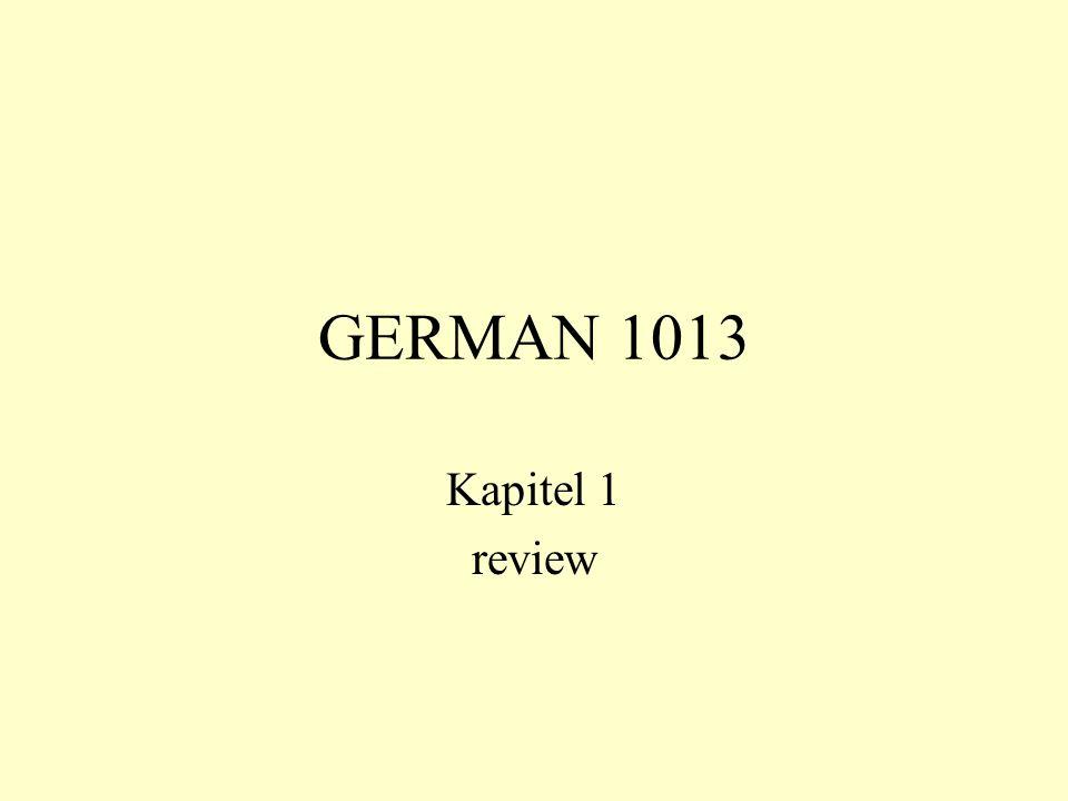 GERMAN 1013 Kapitel 1 review