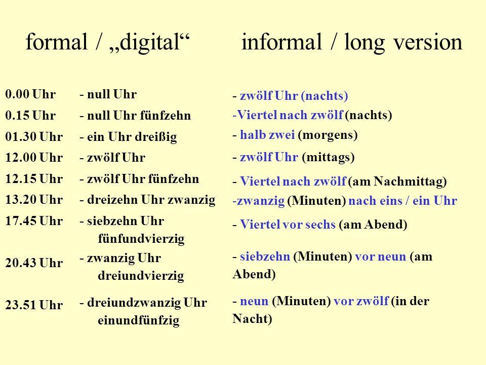 formal / digital informal / long version 0.00 Uhr 0.15 Uhr 01.30 Uhr 12.00 Uhr 12.15 Uhr 13.20 Uhr 17.45 Uhr 20.43 Uhr 23.51 Uhr - null Uhr - null Uhr