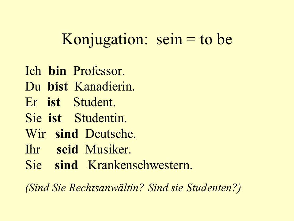 Konjugation: sein = to be Ich bin Professor. Du bist Kanadierin. Er ist Student. Sie ist Studentin. Wir sind Deutsche. Ihr seid Musiker. Sie sind Kran