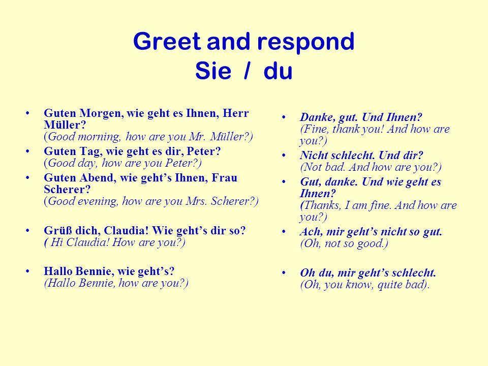 Greet and respond Sie / du Guten Morgen, wie geht es Ihnen, Herr Müller? (Good morning, how are you Mr. Müller?) Guten Tag, wie geht es dir, Peter? (G